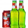 Постер, плакат: Bottle and can of Kronenbourg beer isolated on white