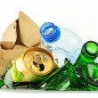 Recyclable garbage consisting of glass plastic metal and paper — Zdjęcie stockowe #55312669