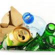 Recyclable garbage consisting of glass plastic metal and paper — Stok fotoğraf #55312669
