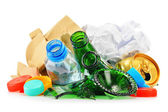 Recyclable garbage consisting of glass plastic metal and paper — Stock Photo