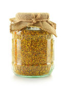 Jar with bee pollen isolated on white. Nutritional supplement — Stock Photo
