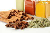 Variety of spices on kitchen table — Foto de Stock
