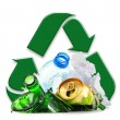 Recyclable garbage consisting of glass plastic metal and paper — Zdjęcie stockowe #55807239