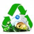 Recyclable garbage consisting of glass plastic metal and paper — Zdjęcie stockowe #55807495