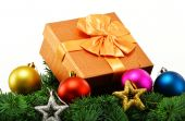 Colorful gift boxes and christmas tree isolated on white — Stock Photo