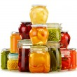 Jars with pickled vegetables, fruity compotes and jams isolated  — Stockfoto #60266069