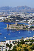 View of Bodrum harbor during hot summer day. Turkish Riviera — Stock Photo