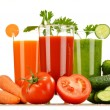 Glasses with fresh vegetable juices isolated on white — Stock Photo #62152265