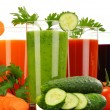 Glasses with fresh vegetable juices isolated on white — Stock Photo #62152399