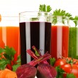 Glasses with fresh vegetable juices isolated on white — Stock Photo #62152481