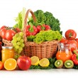 Composition with variety organic vegetables and fruits in wicker — Stock Photo #62152965