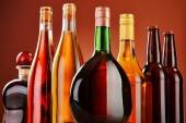 Bottles of assorted alcoholic beverages — Stock Photo