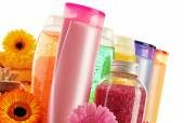 Plastic bottles of body care and beauty products — Stock Photo
