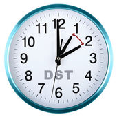 Wall clock isolated on white. Daylight saving time — Stok fotoğraf