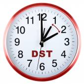Wall clock isolated on white. Daylight saving time — Fotografia Stock