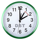 Wall clock isolated on white. Daylight saving time — Stock Photo