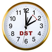 Wall clock isolated on white. Daylight saving time — Foto Stock