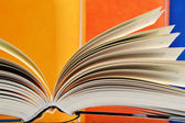 Composition with hardcover books in the library — Foto de Stock