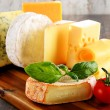 Different sorts of cheese isolated on kitchen table — Stockfoto #67514103