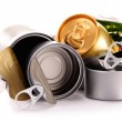 Recyclable garbage consisting of metal cans isolated on white — Stock Photo #69598113
