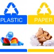 Recyclable garbage consisting of glass, plastic, metal and paper — Stock Photo #69598473