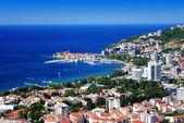 Aerial view of Budva, Montenegro on Adriatic coast — Stock Photo