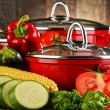 Composition with red steel pots and variety of fresh vegetables — Foto de Stock   #81603988