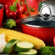 Composition with red steel pots and variety of fresh vegetables — Foto de Stock   #81604074