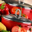 Composition with red steel pots and variety of fresh vegetables — Foto de Stock   #81603970