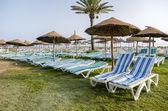 Ombrellone su una spiaggia deserta e orizzonte di acqua di mare. chiaro cielo blu. — Foto Stock