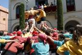Castell or Human Tower, typical tradition in Catalonia — Stock Photo
