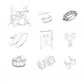 Icons illustrations drums — Vecteur