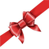 Red bow ribbon gift vector — Wektor stockowy