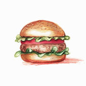 Hamburger, drawn with colored pencils, in grunge style with spac — Stock Vector