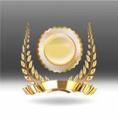 Laurel wreath and gold ribbon vector illustration — Stockvektor
