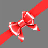Red bow ribbon gift vector — Stock Vector