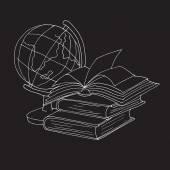Globe and books icon knowledge vector — Stock Vector