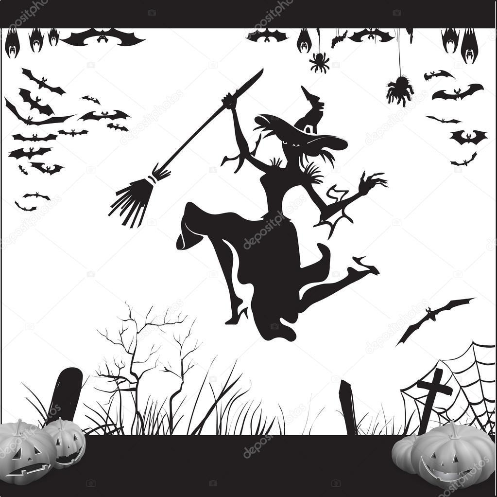 sorcire dhalloween sur un manche balai volant silhouette illustration vectorielle dune chauve souris araigne web tombes chauve souris suspendue