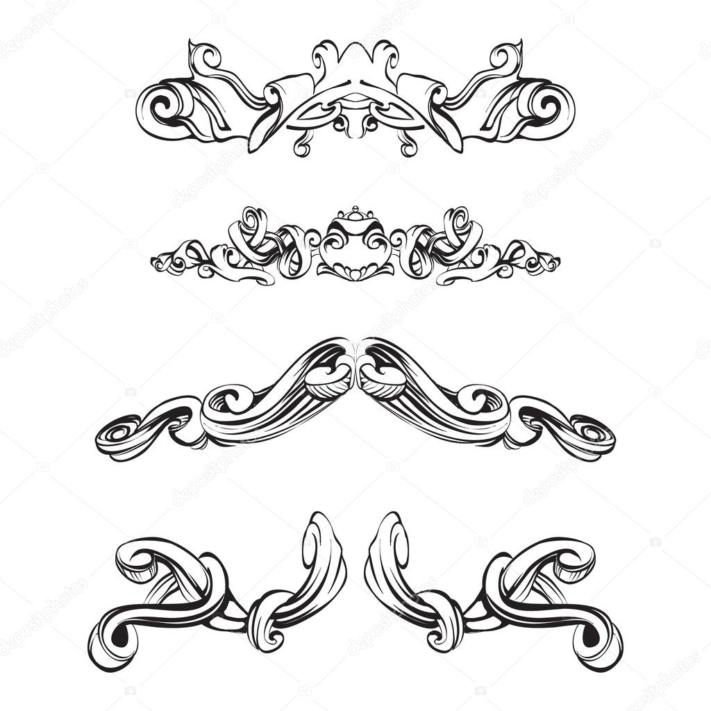 Decorative elements in vintage style for decoration layout for A style text decoration