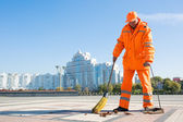 Road sweeper cleaning city street with broom tool — Stock Photo