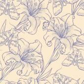 Lilies and moths — ストックベクタ