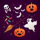 Set of cute icons for Halloween - 1 — Stock Vector
