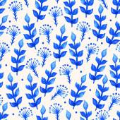 Feuilles bleus aquarelles — Vecteur
