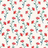 可爱的水彩红色罂粟花 — 图库矢量图片