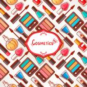 Colorful background with cosmetics — Vetor de Stock