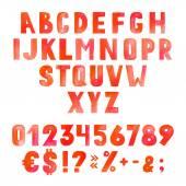 Watercolor red alphabet — Stock Vector
