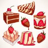 Set with appetizing desserts — Stock Vector