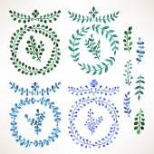 Blauwe en groene aquarel bladeren - 2 — Stockvector