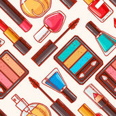 Seamless hand-drawn decorative cosmetics - 1 — ストックベクタ