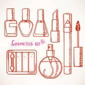 Set con schizzo Cosmetica decorativa — Vettoriale Stock